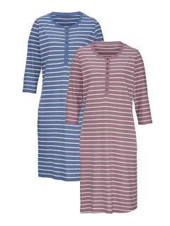 afbeelding Nachthemd Harmony poeder/ecru/jeansblauw