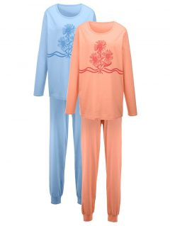 afbeelding Pyjama Harmony bleu/apricot