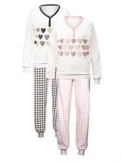 afbeelding Pyjama's Harmony ecru/antraciet/roze