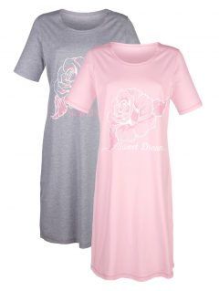 afbeelding Nachthemd Simone roze/grijs gemêleerd