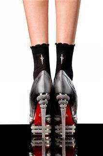 afbeelding Korte damessokken zwart/zilver
