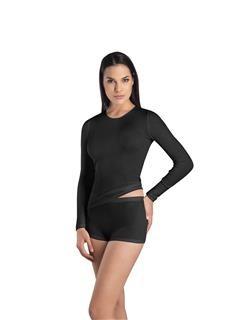 afbeelding Dames·shirt·Rnek·l/slv·Hanro·Woolen Silk·zwart·71409